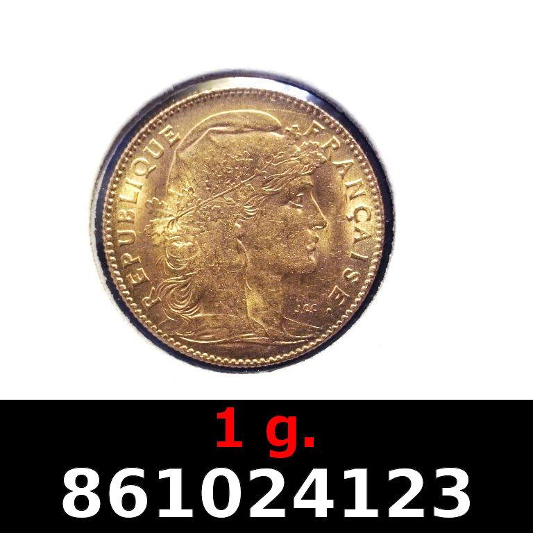 Réf. 861024123 1 gramme d\'or pur - Demi-Napoléon (LSP) 10 Francs Issu d un lot de 100 Mariannes Coq - AVERS