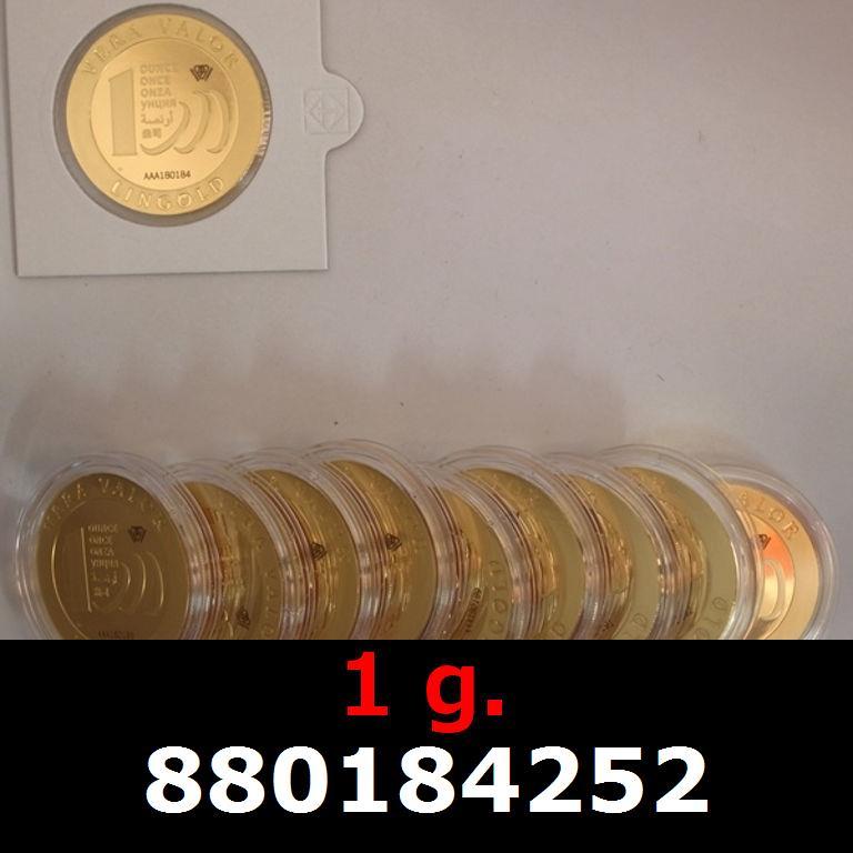 Réf. 880184252 1 gramme d\'or pur - Vera Valor (LSP)  Issu d un lot de 10 Vera Valor 1 once - AVERS