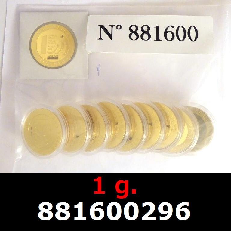 Réf. 881600296 1 gramme d\'or pur - Vera Valor (LSP)  Issu d un lot de 10 Vera Valor 1 once - AVERS