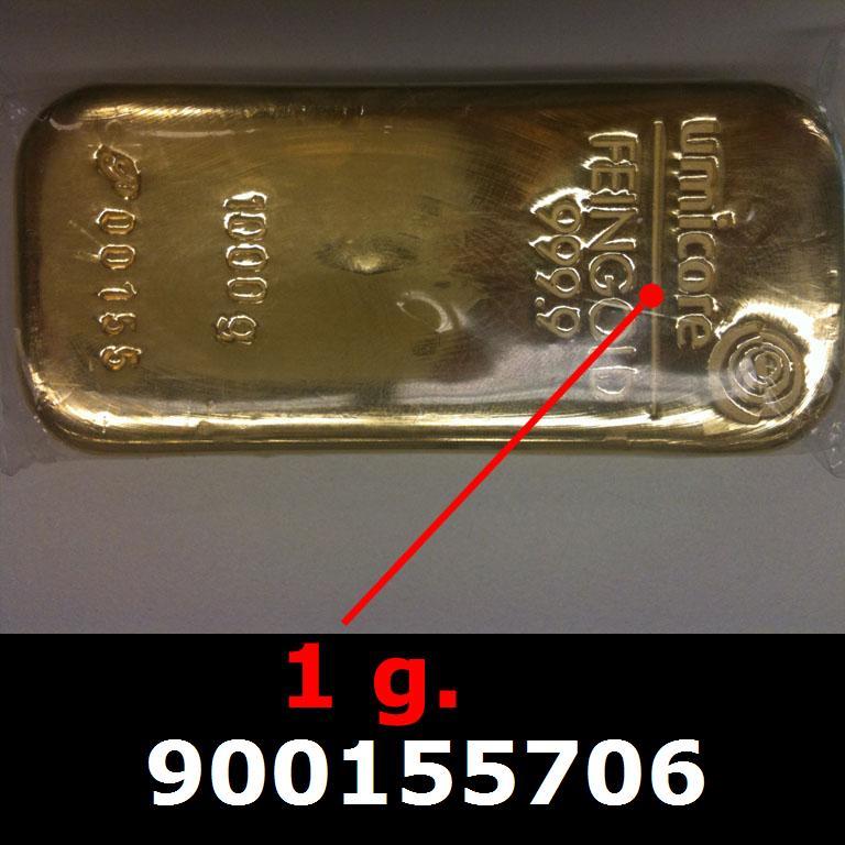 Réf. 900155706 1 gramme d\'or pur (Lingot LSP)  Issu d un lingot good delivery de 1 kilo - AVERS