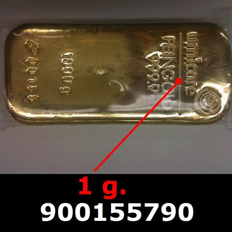 Réf. 900155790 1 gramme d\'or pur (Lingot LSP)  Issu d un lingot good delivery de 1 kilo - AVERS