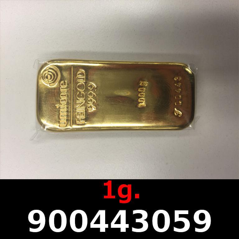 Réf. 900443059 1 gramme d\'or pur (Lingot LSP)  Issu d un lingot good delivery de 1 kilo - AVERS