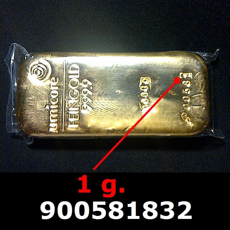 Réf. 900581832 1 gramme d\'or pur (Lingot LSP)  Issu d un lingot good delivery de 1 kilo - AVERS
