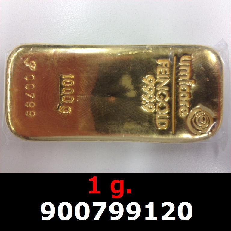 Réf. 900799120 1 gramme d\'or pur (Lingot LSP)  Issu d un lingot good delivery de 1 kilo - AVERS