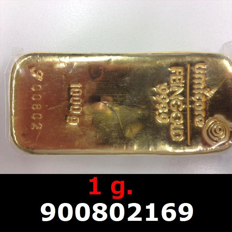 Réf. 900802169 1 gramme d\'or pur (Lingot LSP)  Issu d un lingot good delivery de 1 kilo - AVERS