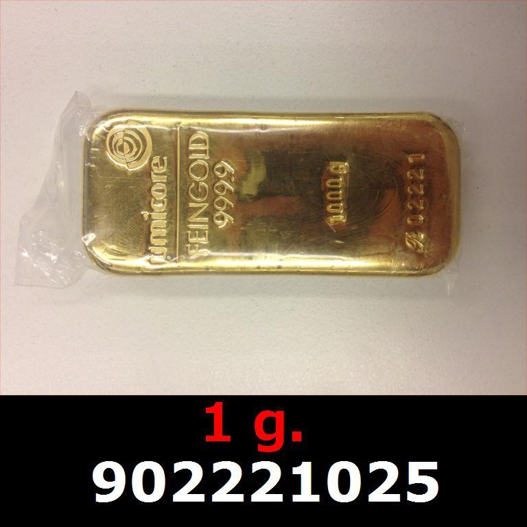 Réf. 902221025 1 gramme d\'or pur (Lingot LSP)  Issu d un lingot good delivery de 1 kilo - AVERS