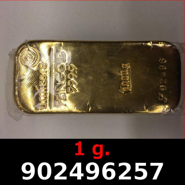 Réf. 902496257 1 gramme d\'or pur (Lingot LSP)  Issu d un lingot good delivery de 1 kilo - AVERS