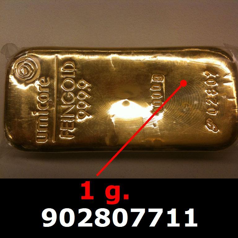 Réf. 902807711 1 gramme d\'or pur (Lingot LSP)  Issu d un lingot good delivery de 1 kilo - AVERS