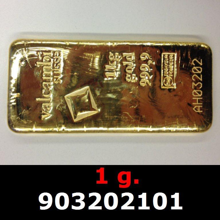 Réf. 903202101 1 gramme d\'or pur (Lingot LSP)  Issu d un lingot good delivery de 1 kilo - AVERS