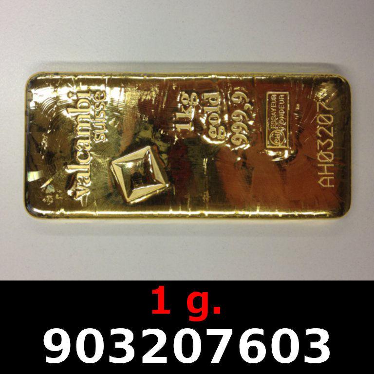 Réf. 903207603 1 gramme d\'or pur (Lingot LSP)  Issu d un lingot good delivery de 1 kilo - AVERS