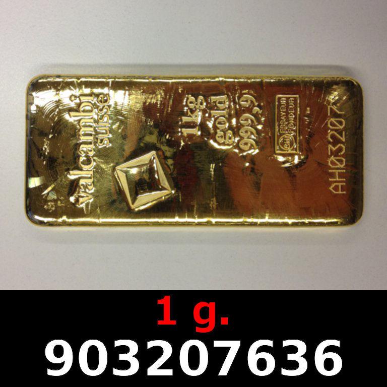 Réf. 903207636 1 gramme d\'or pur (Lingot LSP)  Issu d un lingot good delivery de 1 kilo - AVERS