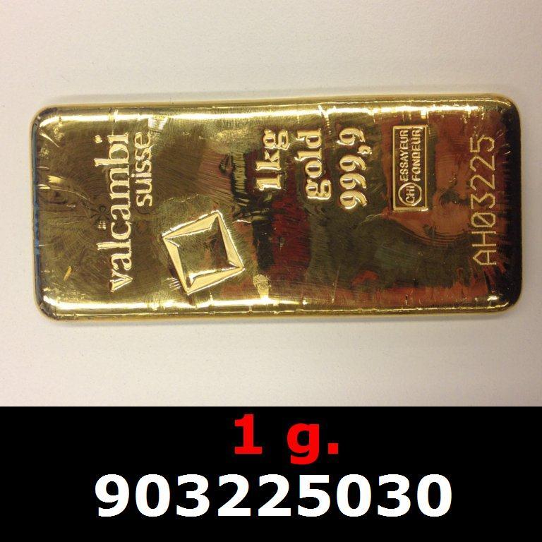 Réf. 903225030 1 gramme d\'or pur (Lingot LSP)  Issu d un lingot good delivery de 1 kilo - AVERS