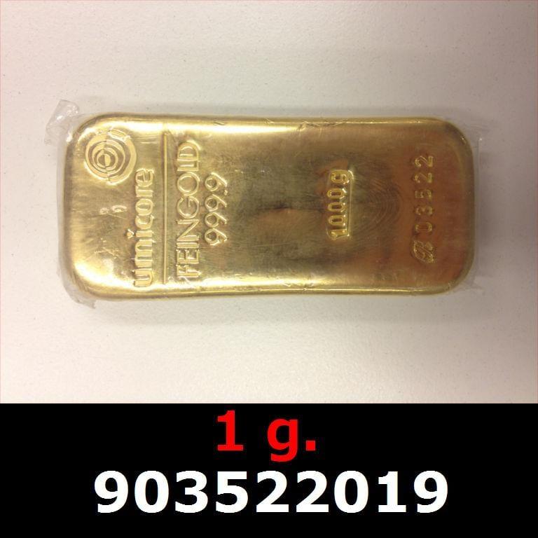 Réf. 903522019 1 gramme d\'or pur (Lingot LSP)  Issu d un lingot good delivery de 1 kilo - AVERS