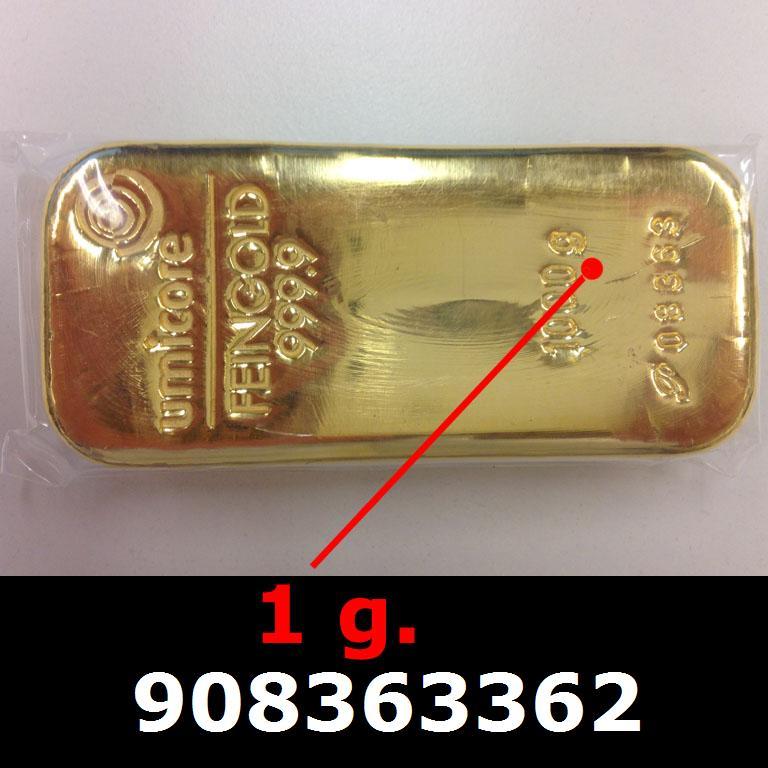 Réf. 908363362 1 gramme d\'or pur (Lingot LSP)  Issu d un lingot good delivery de 1 kilo - AVERS