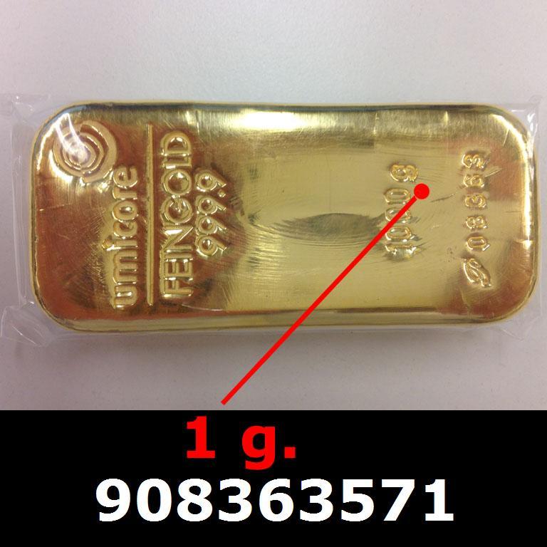 Réf. 908363571 1 gramme d\'or pur (Lingot LSP)  Issu d un lingot good delivery de 1 kilo - AVERS