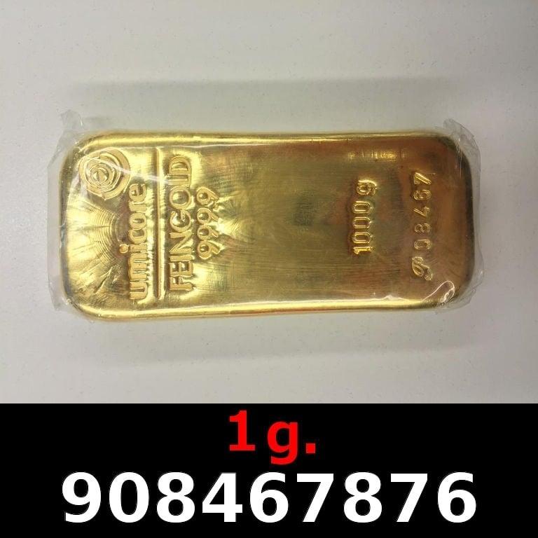 Réf. 908467876 1 gramme d\'or pur (Lingot LSP)  Issu d un lingot good delivery de 1 kilo - AVERS