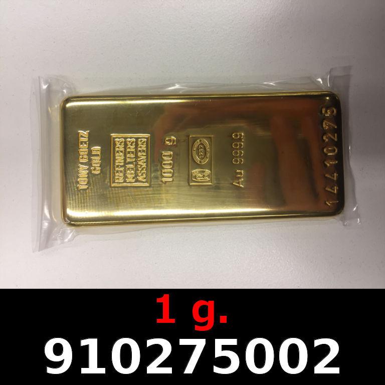 Réf. 910275002 1 gramme d\'or pur (Lingot LSP)  Issu d un lingot good delivery de 1 kilo - AVERS