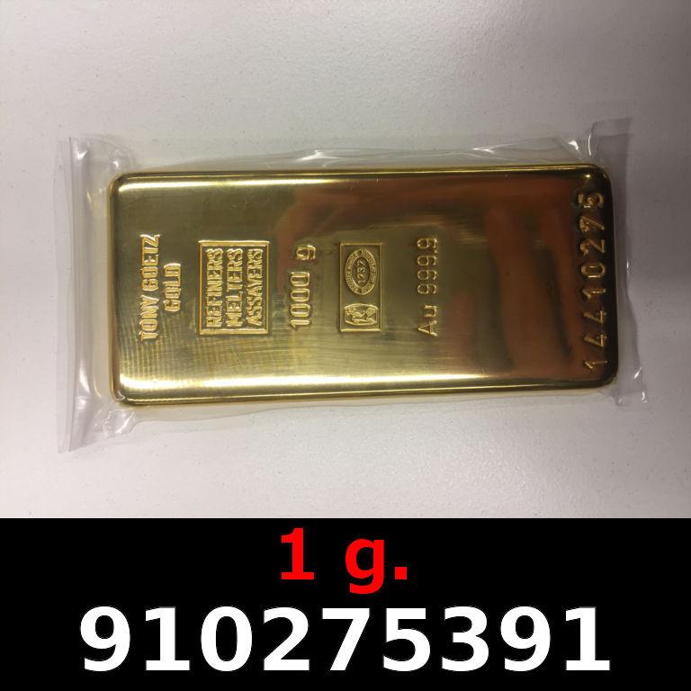 Réf. 910275391 1 gramme d\'or pur (Lingot LSP)  Issu d un lingot good delivery de 1 kilo - AVERS