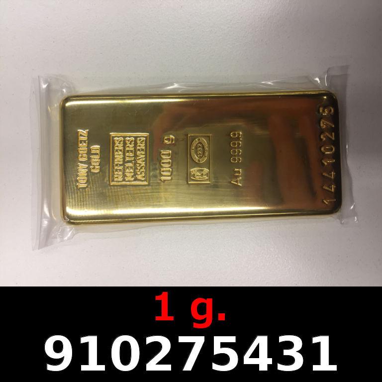 Réf. 910275431 1 gramme d\'or pur (Lingot LSP)  Issu d un lingot good delivery de 1 kilo - AVERS