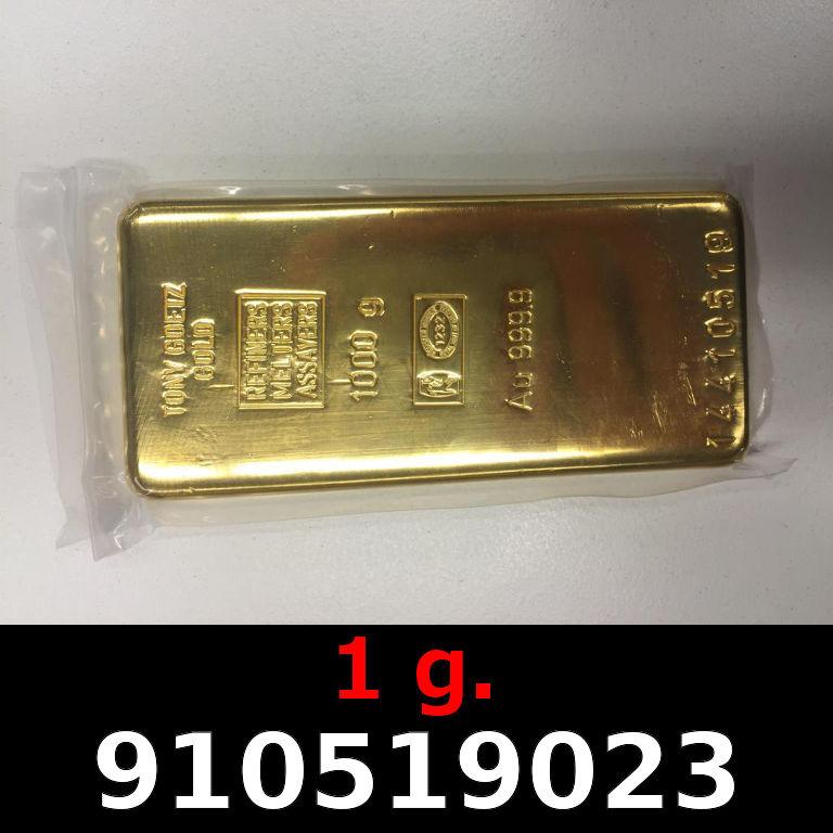 Réf. 910519023 1 gramme d\'or pur (Lingot LSP)  Issu d un lingot good delivery de 1 kilo - AVERS