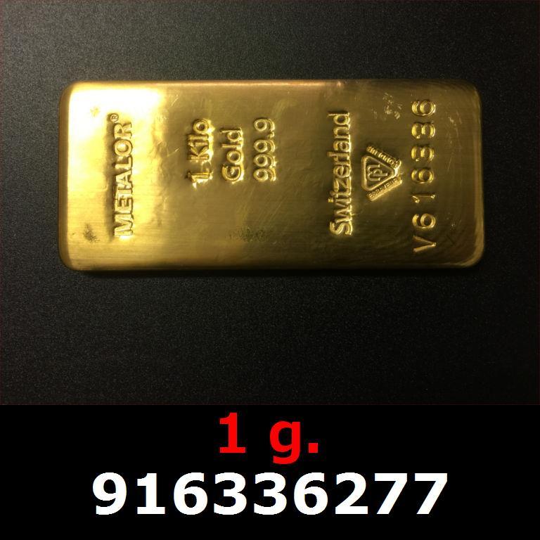 Réf. 916336277 1 gramme d\'or pur (Lingot LSP)  Issu d un lingot good delivery de 1 kilo - AVERS