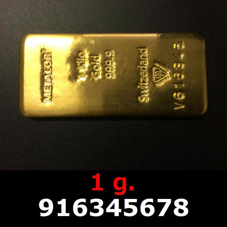 Réf. 916345678 1 gramme d\'or pur (Lingot LSP)  Issu d un lingot good delivery de 1 kilo - AVERS