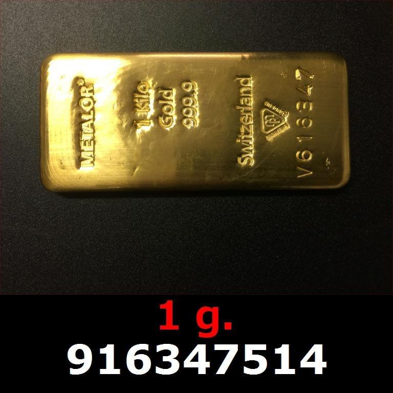 Réf. 916347514 1 gramme d\'or pur (Lingot LSP)  Issu d un lingot good delivery de 1 kilo - AVERS