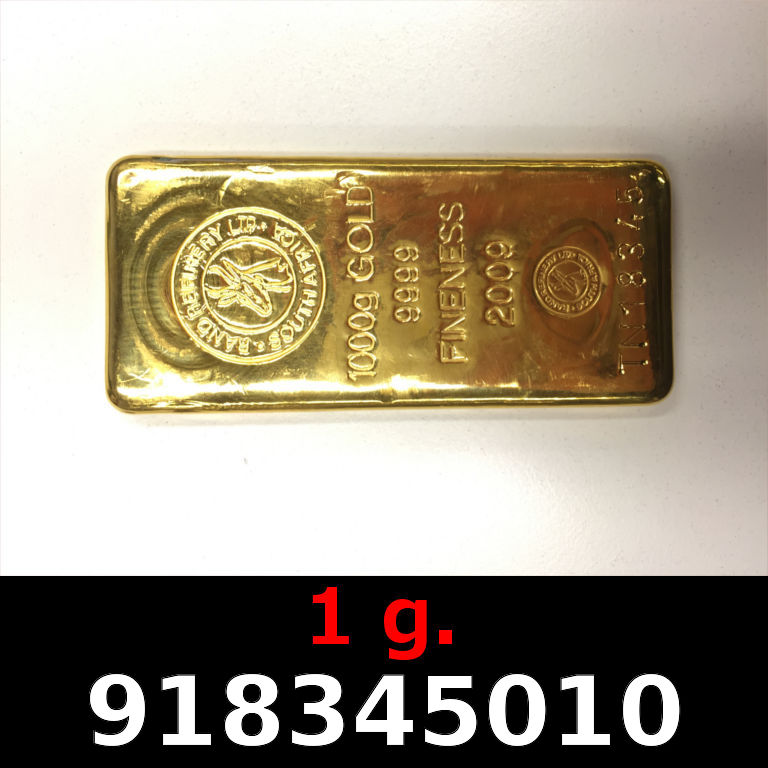 Réf. 918345010 1 gramme d\'or pur (Lingot LSP)  Issu d un lingot good delivery de 1 kilo - AVERS