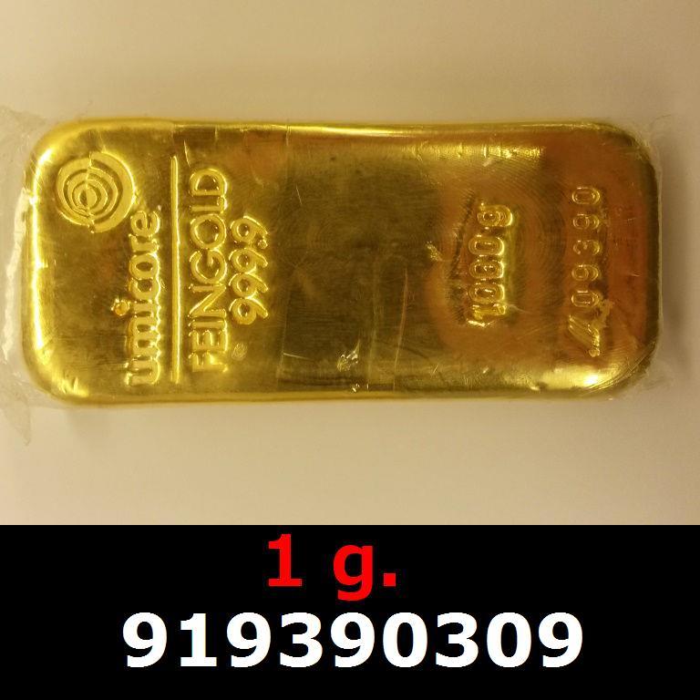 Réf. 919390309 1 gramme d\'or pur (Lingot LSP)  Issu d un lingot good delivery de 1 kilo - AVERS