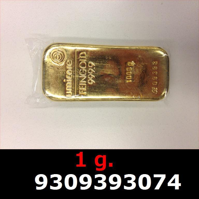 Réf. 9309393074 1 gramme d\'or pur (Lingot LSP)  Issu d un lingot good delivery de 1 kilo - AVERS