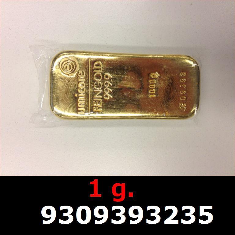 Réf. 9309393235 1 gramme d\'or pur (Lingot LSP)  Issu d un lingot good delivery de 1 kilo - AVERS