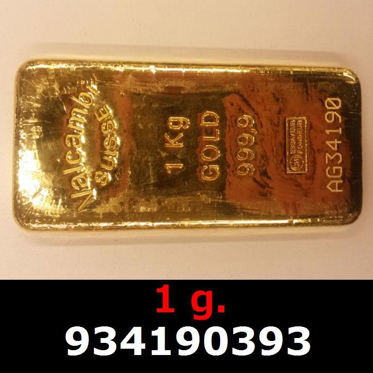 Réf. 934190393 1 gramme d\'or pur (Lingot LSP)  Issu d un lingot good delivery de 1 kilo - AVERS