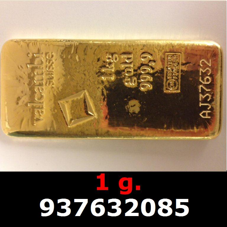 Réf. 937632085 1 gramme d\'or pur (Lingot LSP)  Issu d un lingot good delivery de 1 kilo - AVERS