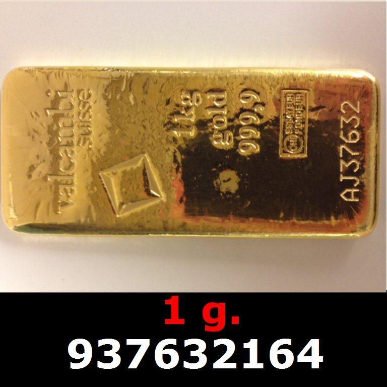Réf. 937632164 1 gramme d\'or pur (Lingot LSP)  Issu d un lingot good delivery de 1 kilo - AVERS