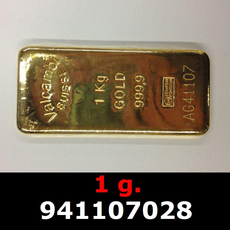 Réf. 941107028 1 gramme d\'or pur (Lingot LSP)  Issu d un lingot good delivery de 1 kilo - AVERS