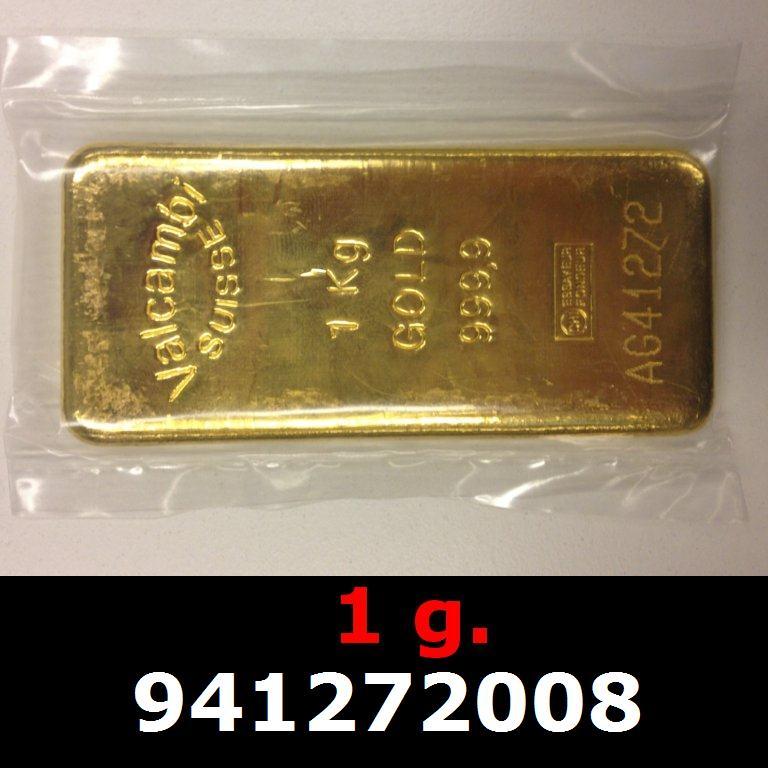 Réf. 941272008 1 gramme d\'or pur (Lingot LSP)  Issu d un lingot good delivery de 1 kilo - AVERS