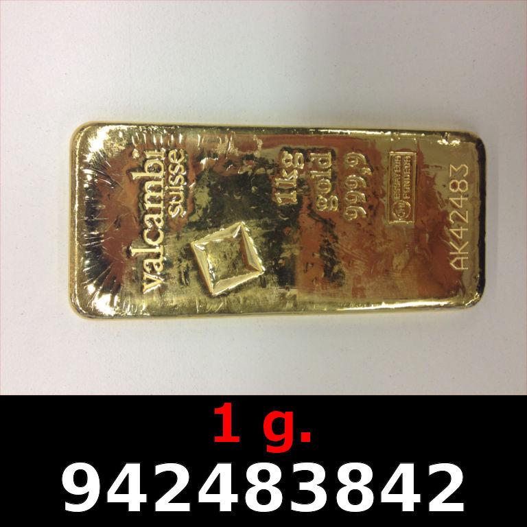 Réf. 942483842 1 gramme d\'or pur (Lingot LSP)  Issu d un lingot good delivery de 1 kilo - AVERS
