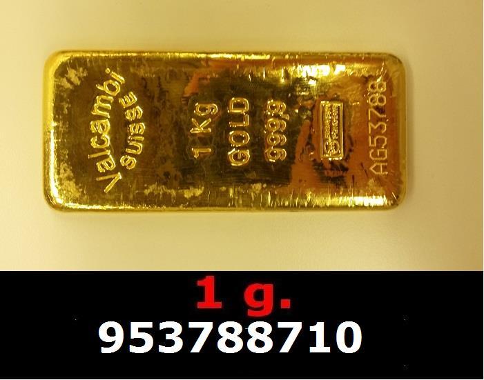 Réf. 953788710 1 gramme d\'or pur (Lingot LSP)  Issu d un lingot good delivery de 1 kilo - AVERS