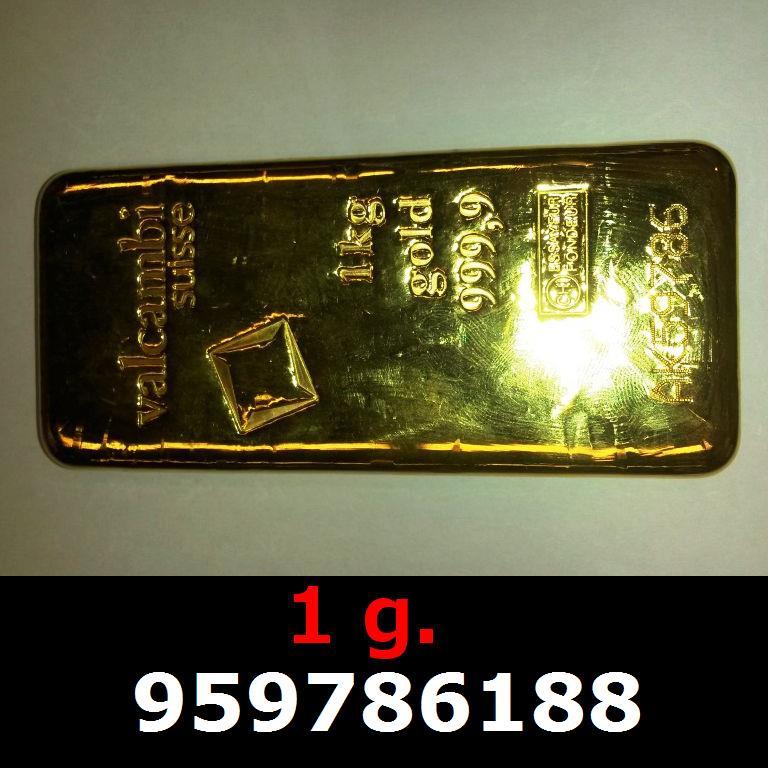 Réf. 959786188 1 gramme d\'or pur (Lingot LSP)  Issu d un lingot good delivery de 1 kilo - AVERS