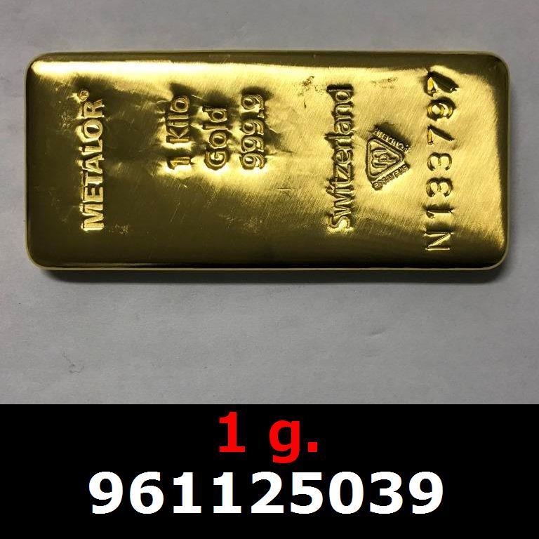 Réf. 961125039 1 gramme d\'or pur (Lingot LSP)  Issu d un lingot good delivery de 1 kilo - AVERS
