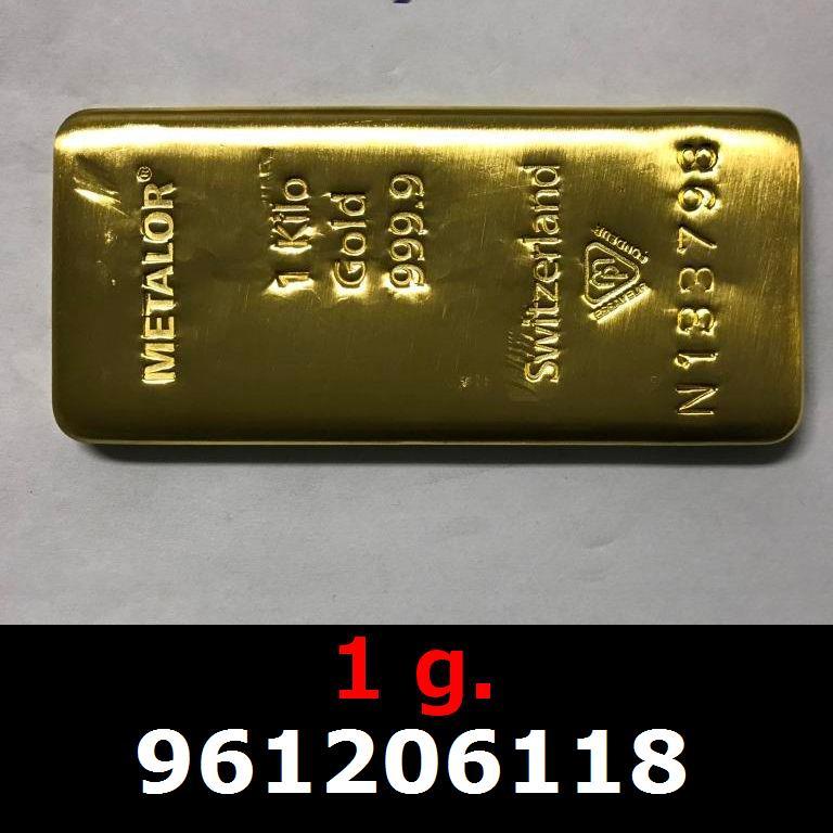 Réf. 961206118 1 gramme d\'or pur (Lingot LSP)  Issu d un lingot good delivery de 1 kilo - AVERS