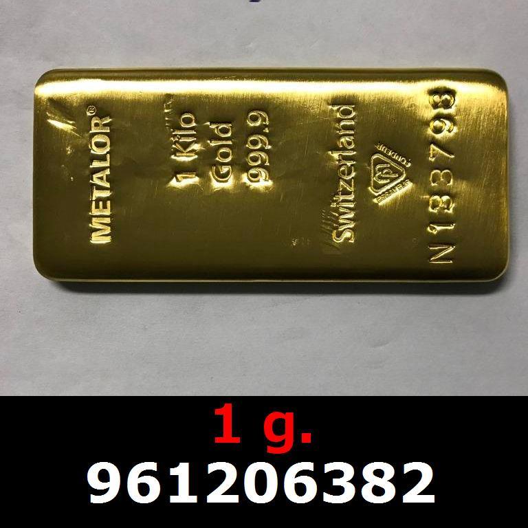 Réf. 961206382 1 gramme d\'or pur (Lingot LSP)  Issu d un lingot good delivery de 1 kilo - AVERS