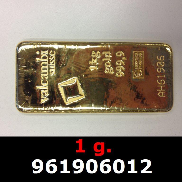 Réf. 961906012 1 gramme d\'or pur (Lingot LSP)  Issu d un lingot good delivery de 1 kilo - AVERS