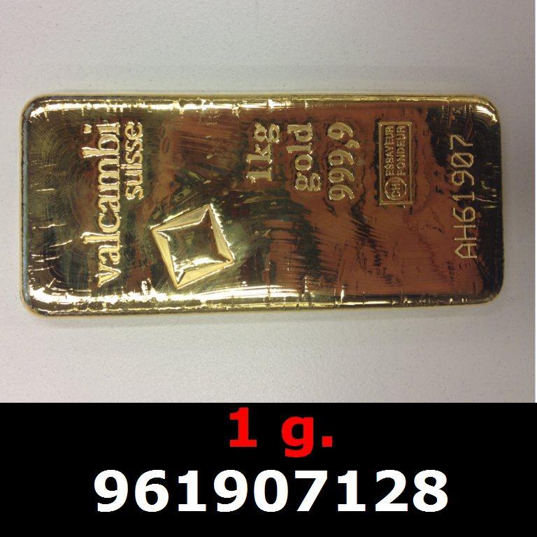 Réf. 961907128 1 gramme d\'or pur (Lingot LSP)  Issu d un lingot good delivery de 1 kilo - AVERS