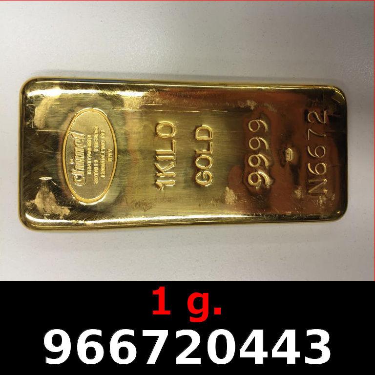 Réf. 966720443 1 gramme d\'or pur (Lingot LSP)  Issu d un lingot good delivery de 1 kilo - AVERS