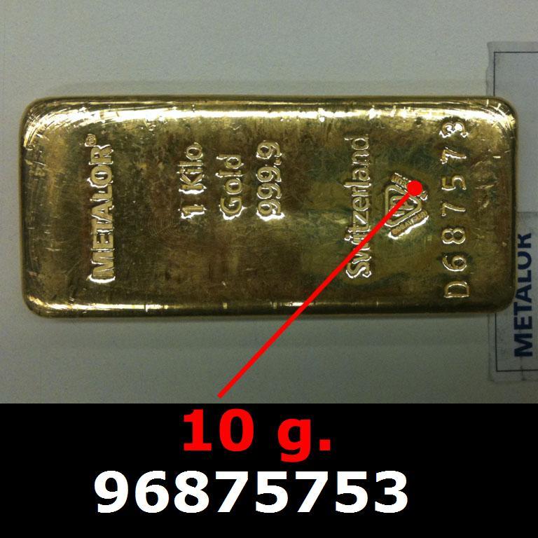 Réf. 96875753 10 grammes d\'or pur (LSP)  Issu d un lingot good delivery de 1 kilo - AVERS