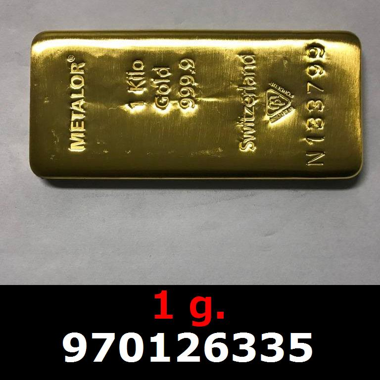 Réf. 970126335 1 gramme d\'or pur (Lingot LSP)  Issu d un lingot good delivery de 1 kilo - AVERS