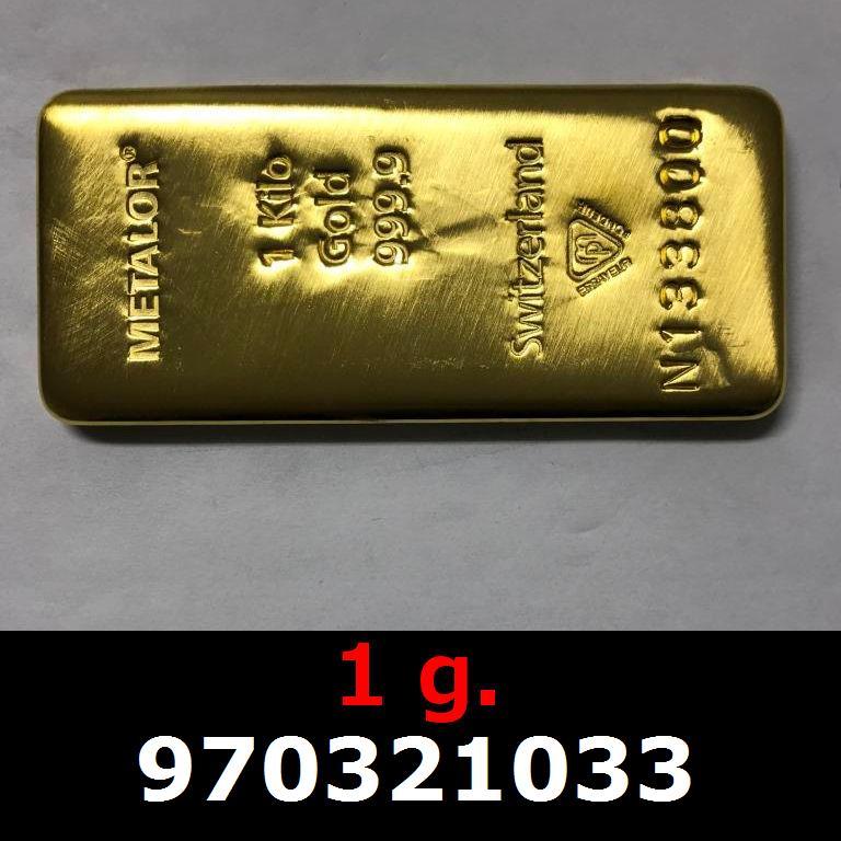 Réf. 970321033 1 gramme d\'or pur (Lingot LSP)  Issu d un lingot good delivery de 1 kilo - AVERS