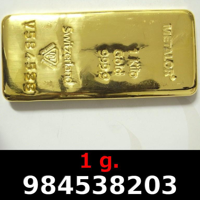 Réf. 984538203 1 gramme d\'or pur (Lingot LSP)  Issu d un lingot good delivery de 1 kilo - AVERS
