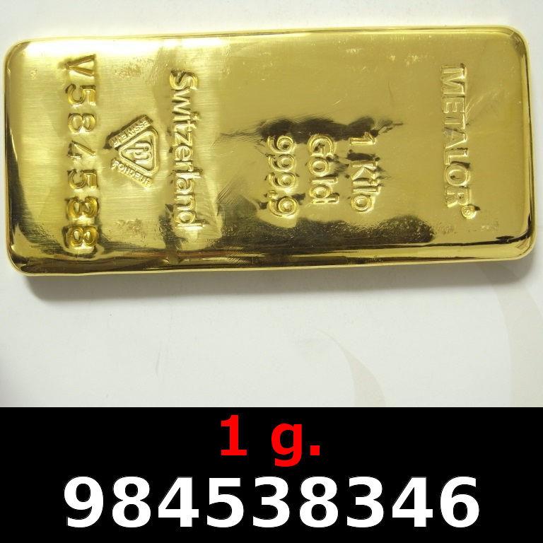 Réf. 984538346 1 gramme d\'or pur (Lingot LSP)  Issu d un lingot good delivery de 1 kilo - AVERS